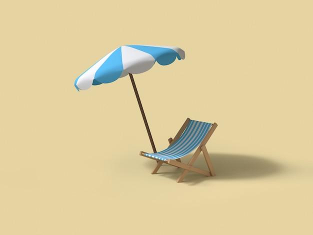 Parasol bleu plage et chaise plage rendu 3d