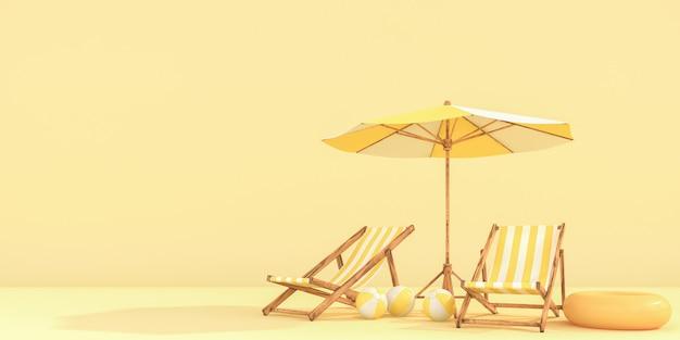 Parasol avec chaises sur mur de couleurs pastel. concept de minimalisme.