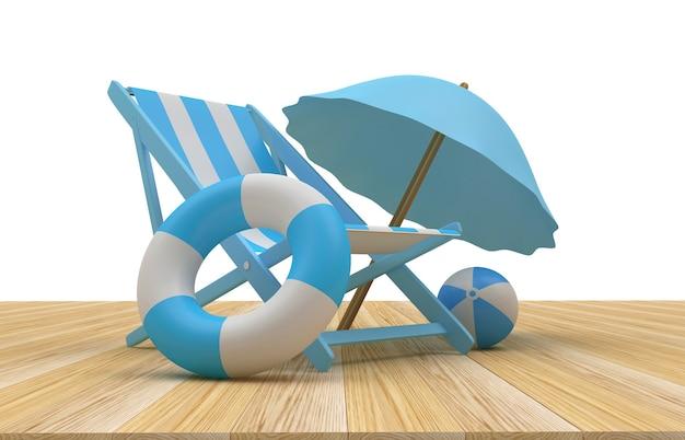 Parasol de plage de rendu 3d, chaise et bouées de sauvetage sur plancher en bois avec fond blanc