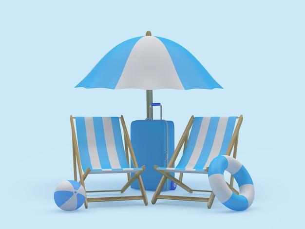 Parasol de plage de rendu 3d, chaises, bouées de sauvetage et une valise sur fond bleu clair