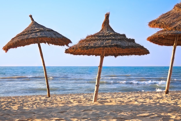 Parasols au toit de chaume sur la plage