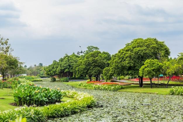 Parc avec arbres et pelouses