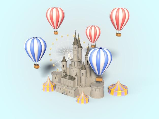 Parc d'attractions, carnaval, fête foraine, cirque, festival de scène de jour illustration 3d