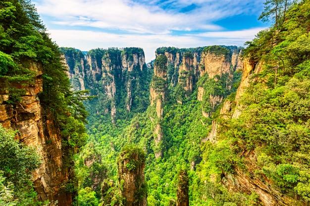 Parc forestier national de zhangjiajie. de gigantesques montagnes de piliers de quartz s'élevant du canyon pendant la journée ensoleillée d'été. hunan, chine.