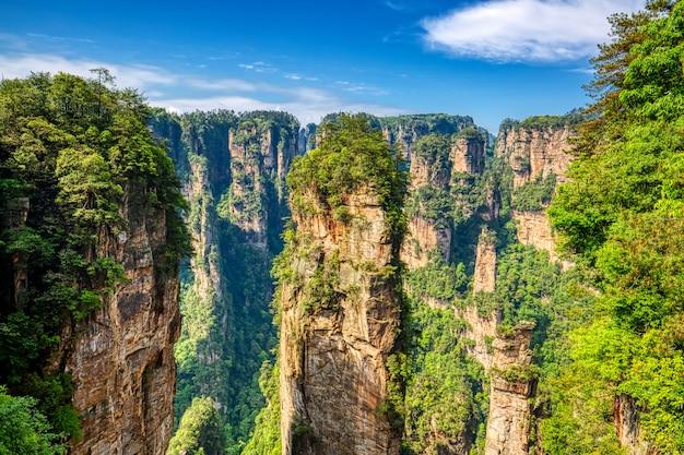 Parc forestier national de zhangjiajie. de gigantesques montagnes de piliers de quartz s'élevant du canyon pendant la journée d'été ensoleillée. hunan, chine.