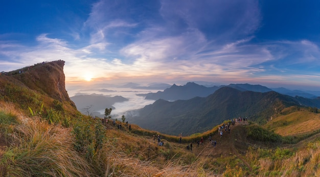 Parc forestier de phu chi fa, province de chiang rai, thaïlande