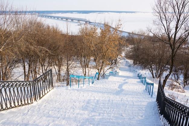 Parc d'hiver. couronne de ruelle. fond de neige.