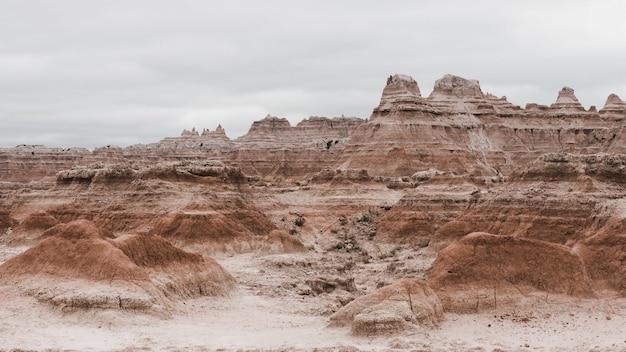 Parc national de badlands dans le dakota du sud, états-unis