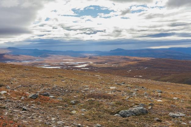 Parc national de sarek en laponie vue de la montagne, automne, suède