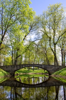 Parc verdoyant et vieux pont. paysage pittoresque.