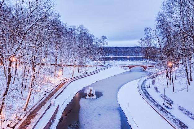 Parc de la ville dans la neige le soir d'hiver