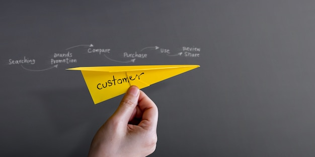 Parcours client et concept d'expérience. main élever un avion en papier contre le mur
