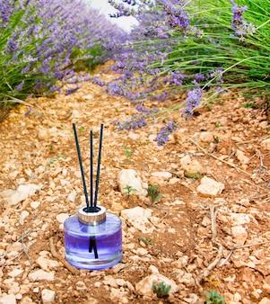 Parfum de fleur de bouteille de lavande dans le domaine