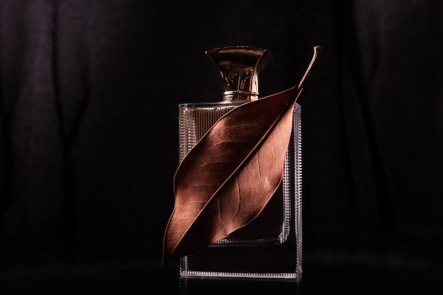 Parfum homme et feuille sèche