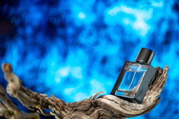 Parfum homme vue de face sur une branche d'arbre séchée isolée sur fond bleu clair avec espace libre