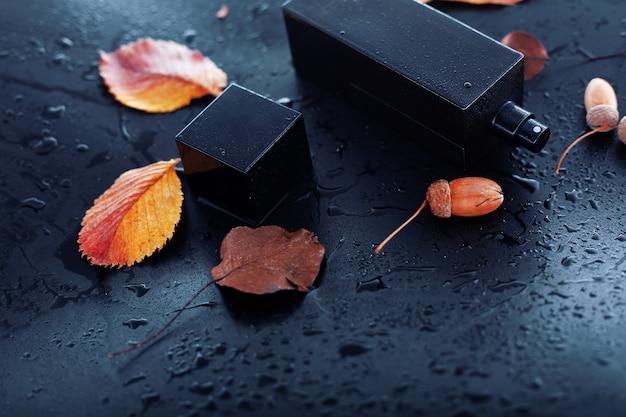 Parfum masculin et feuilles d'automne sur fond noir