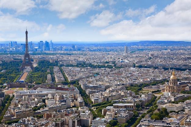 Paris tour eiffel et skyline aérienne france