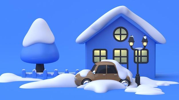 Parking avant maison arbre neige résumé style de dessin animé scène bleue