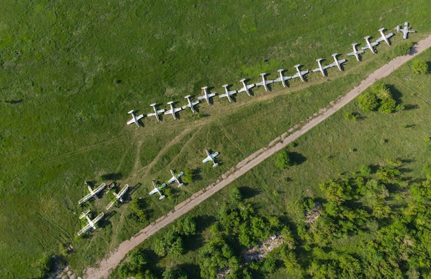 Parking avion. aérodrome - vue de dessus