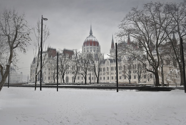 Parlement hongrois en hiver