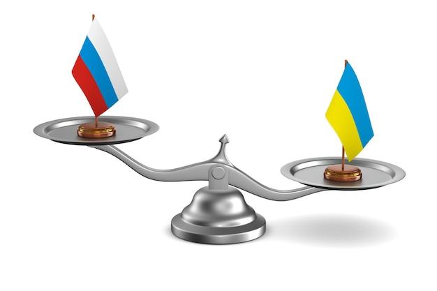 Parley entre la russie et l'ukraine fond blanc illustration 3d