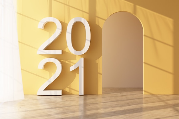 Parquet la lumière brille à travers la fenêtre et des ombres tombent dessus. avec mur jaune et transparent avec texte 2021 sur le rendu 3d de mur