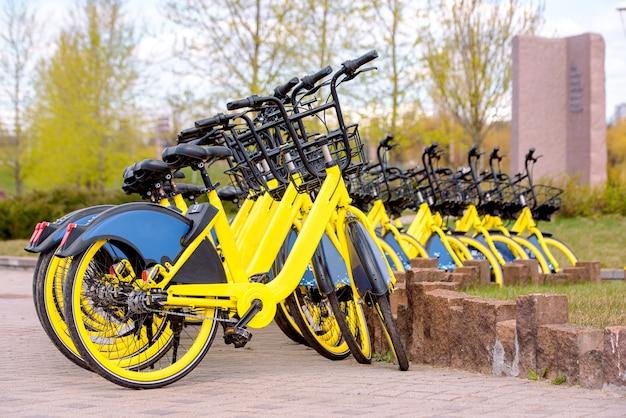 Le partage de vélos en europe. marche saine.