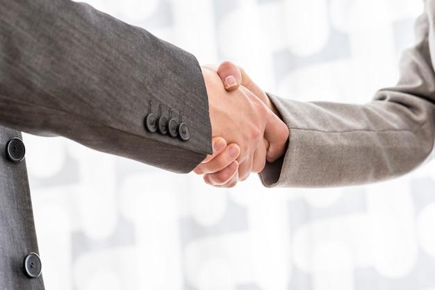 Partenaires commerciaux masculins et féminins se serrant la main