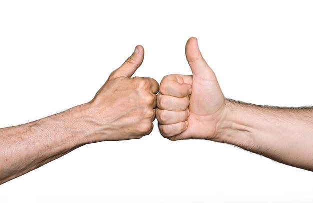 Partenariat. thumbs up signe isolé sur blanc