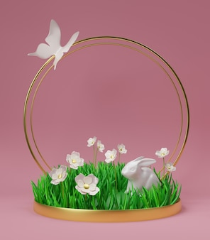 Parterre de fleurs de rendu 3d avec de l'herbe, des fleurs, un lapin et un papillon sur fond rose foncé