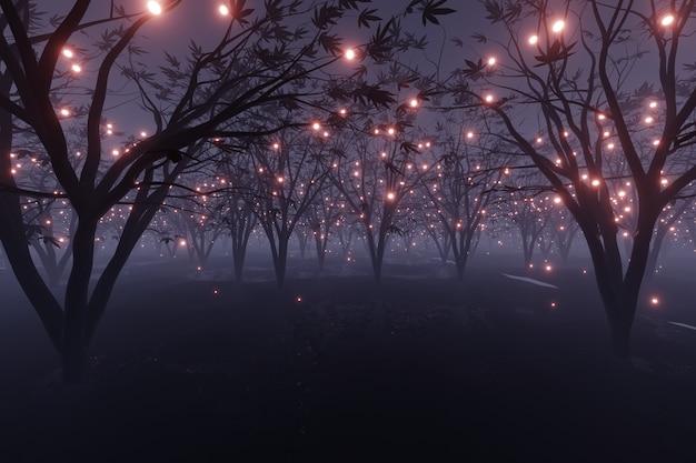 Particule rougeoyante abstraite scintille sur le rendu 3d de forêt de paysage de planète extraterrestre