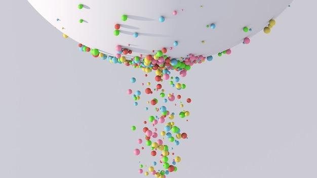 Particules colorées et grande sphère blanche