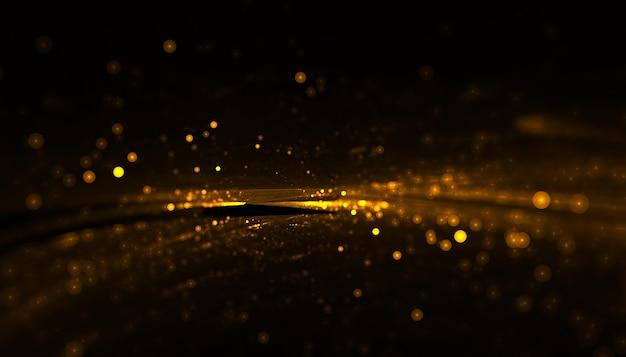 Particules dorées brillantes avec une traînée légère