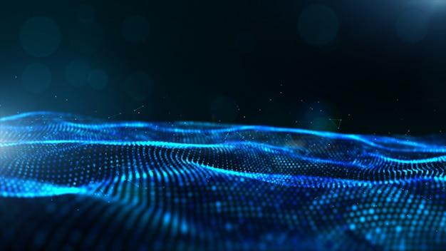 Particules numériques abstraites de couleur bleue vague avec bokeh et fond clair