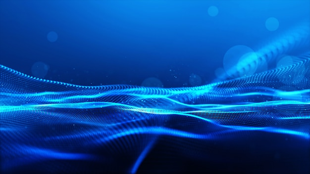 Particules numériques abstraites de couleur bleue vague avec fond bokeh