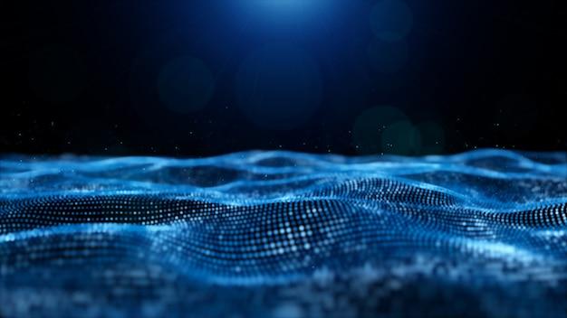 Particules numériques abstraites de couleur bleue