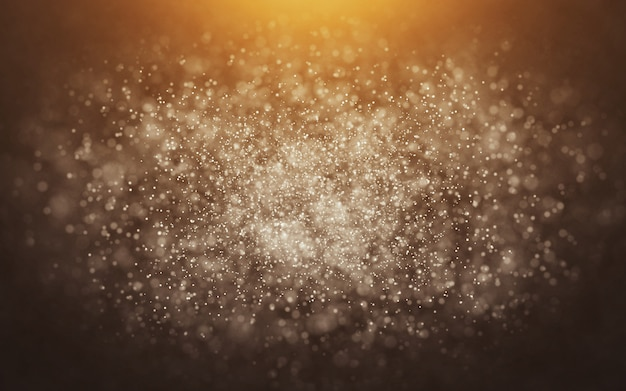 Particules d'or abstraites sur fond orange
