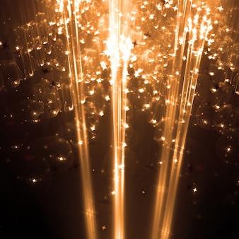 Particules d'or lumières fond d'écran 3d illustration