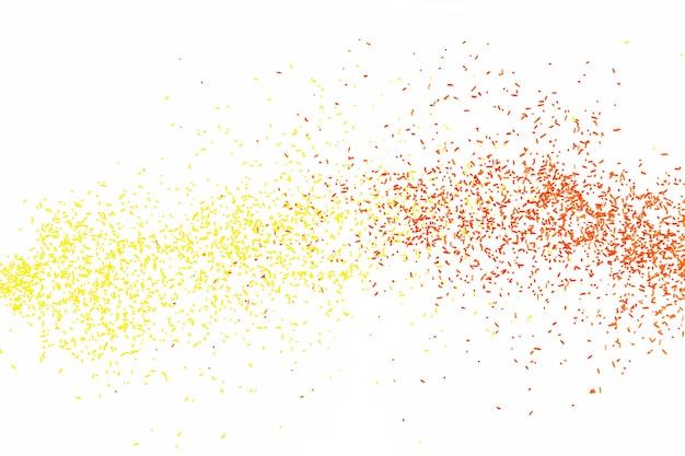 Particules tombantes rouges et jaunes arrondies sur fond blanc.