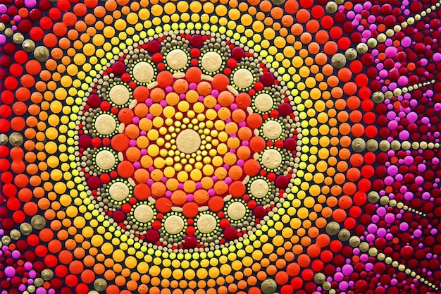 Partie de beau mandala peint à la main