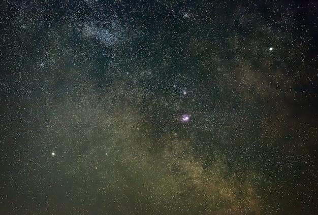 La partie centrale de la voie lactée avec des étoiles brillantes, des nébuleuses et des planètes.