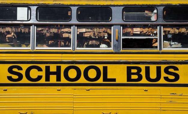 Une partie de fond d'autobus scolaire