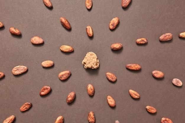 Partie de la masse de cacao naturel frais au milieu des aliments