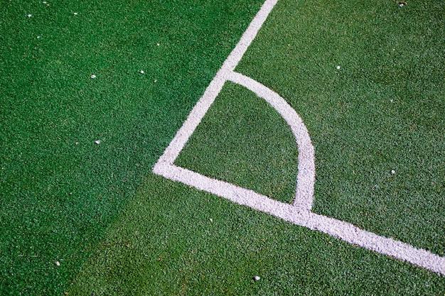 Une partie de la mise en page du terrain de football, la position du coup de pied de coin.