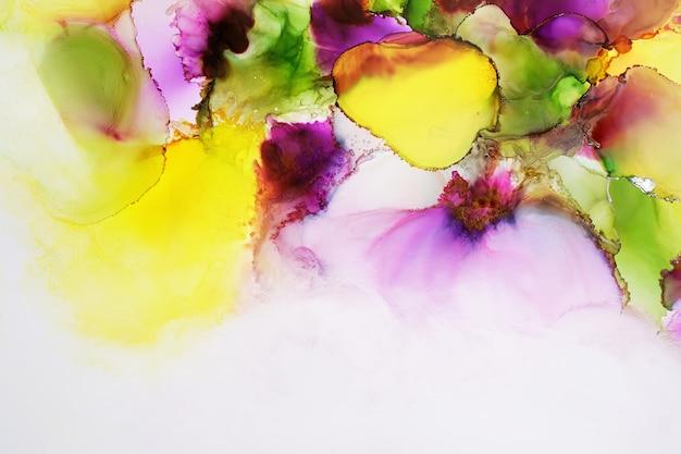 Partie de peinture à l'encre d'alcool originale, photo macro