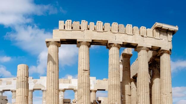 Partie supérieure du parthénon à l'acropole d'athènes