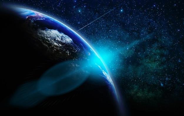 Une partie de la terre avec le lever du soleil et la lumière parasite sur le concept de réseau internet d'arrière-plan de la voie lactée