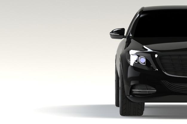 Partie vue de face de la voiture moderne noire closeup sur fond blanc