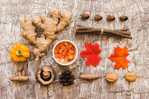 Parties de la composition des arbres et des aliments