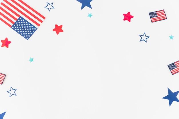 Parties du drapeau américain sur fond blanc